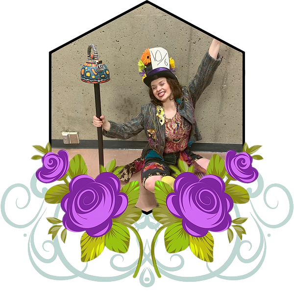 A picture of Emily dressed as the Mad Hatter