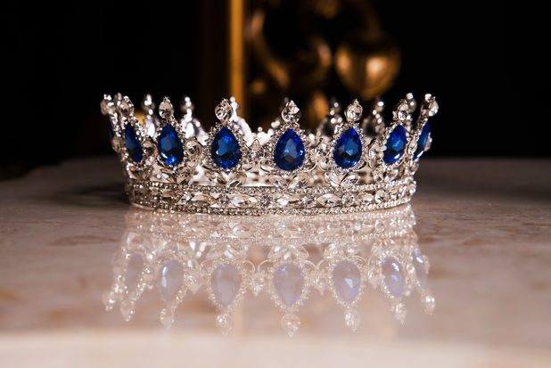 Royal crown with sapphires, luxury retro