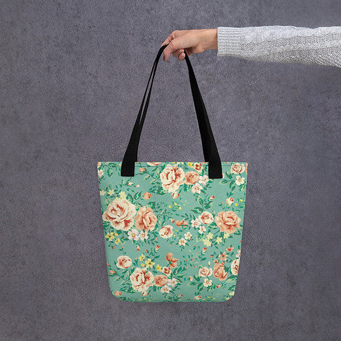 Tote bag - mint flowers