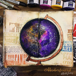 My new #AdventureJournal 🌌is a full page plenty of techniques and color, you can find the video of