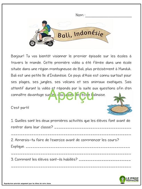 Épisode 1: Bali, Indonésie (niveau 1)