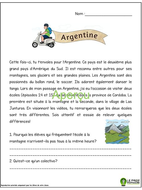 Épisodes 14 et 15: l'Argentine (niveau 1)