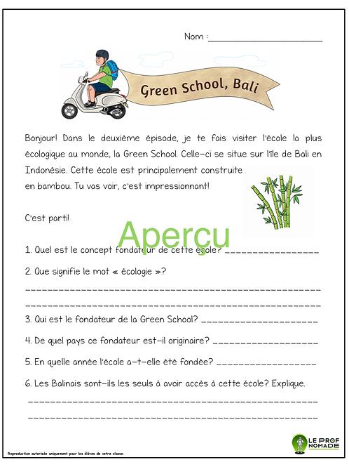 Épisode 2: Green School, Bali  (niveau 1)