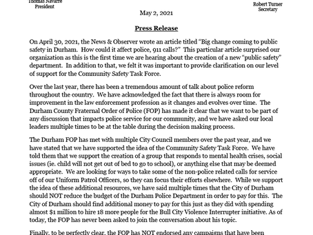 Durham FOP Response to News & Observer Article on April 30, 2021.