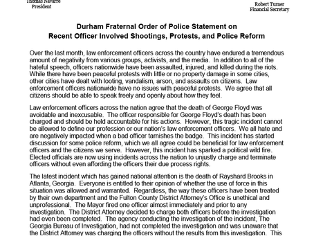 Durham FOP Statement on Recent Officer Involved Shootings, Protests, and Police Reform - 6/19/20
