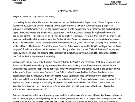 Durham FOP Response to City Council Meeting on 9/8/20