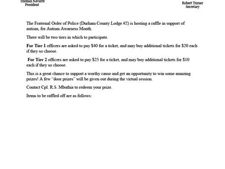 Durham FOP Autism Raffle Prizes - 2021