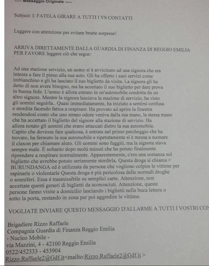 BURUNDANGA LA DROGA DEL BIGLIETTO DA VISITA O NO