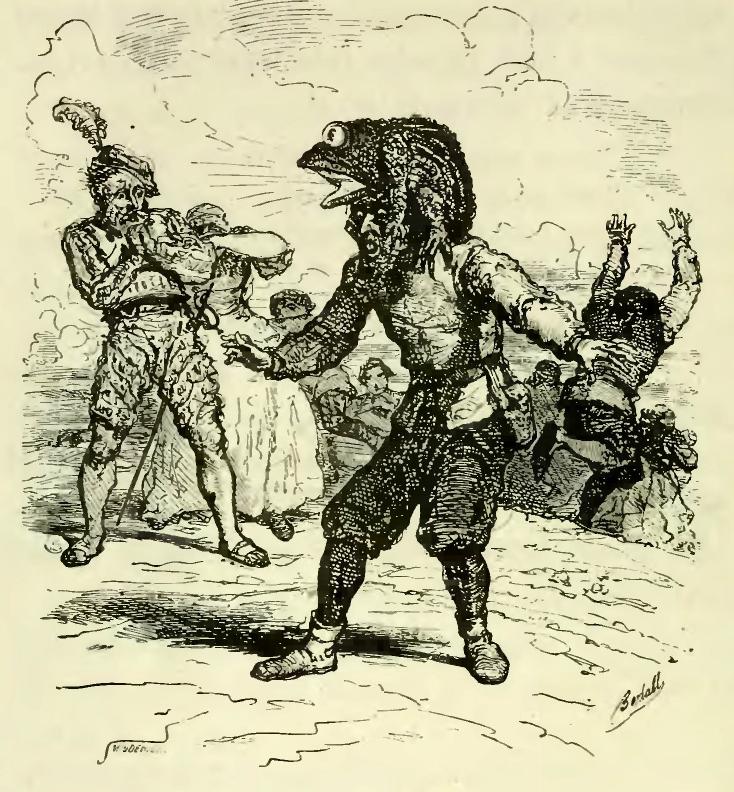 """Illustrazione per """"Le fils ingrat"""", racconto dei fratelli Grimm pubblicato in Contes choisis des frères Grimm. Traduzione di Frédéric Baudry. L. Hachette, 1864 (p. 74-75)."""