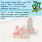 Rugby League Gold Coast Office Closure