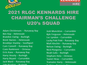 CONGRATULATIONS to the players selected for the 2021 RLGC Kennards Hire Chairman's Challenge U20's