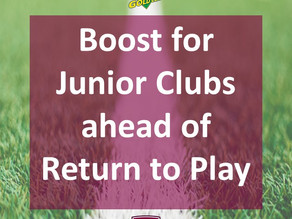 Boost for Junior Clubs Ahead of Return to Play