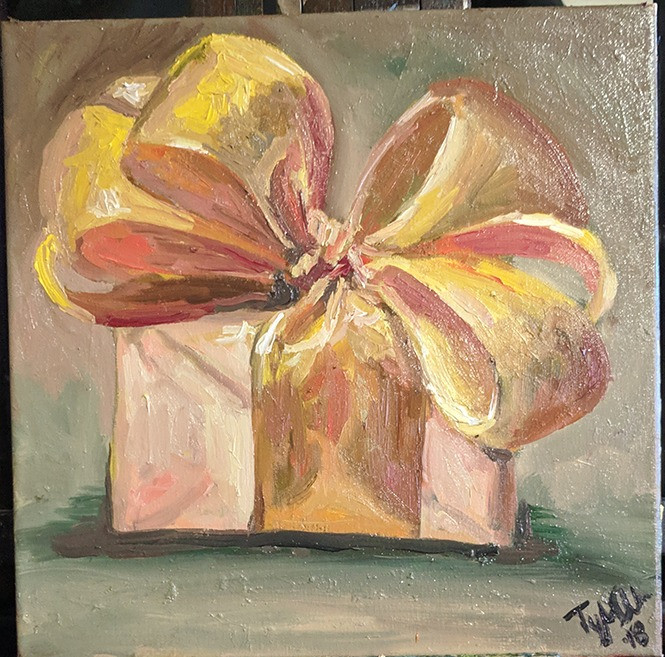 An oil still life painting of a present with a big bow on top of it.