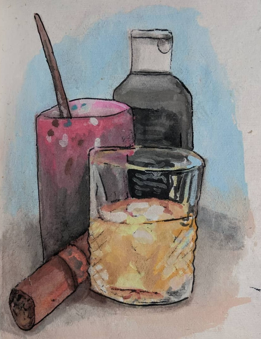 A watercolor still life sketch of a Glass of whiskey, a cigar, a paint cup, and a bottle of black paint.