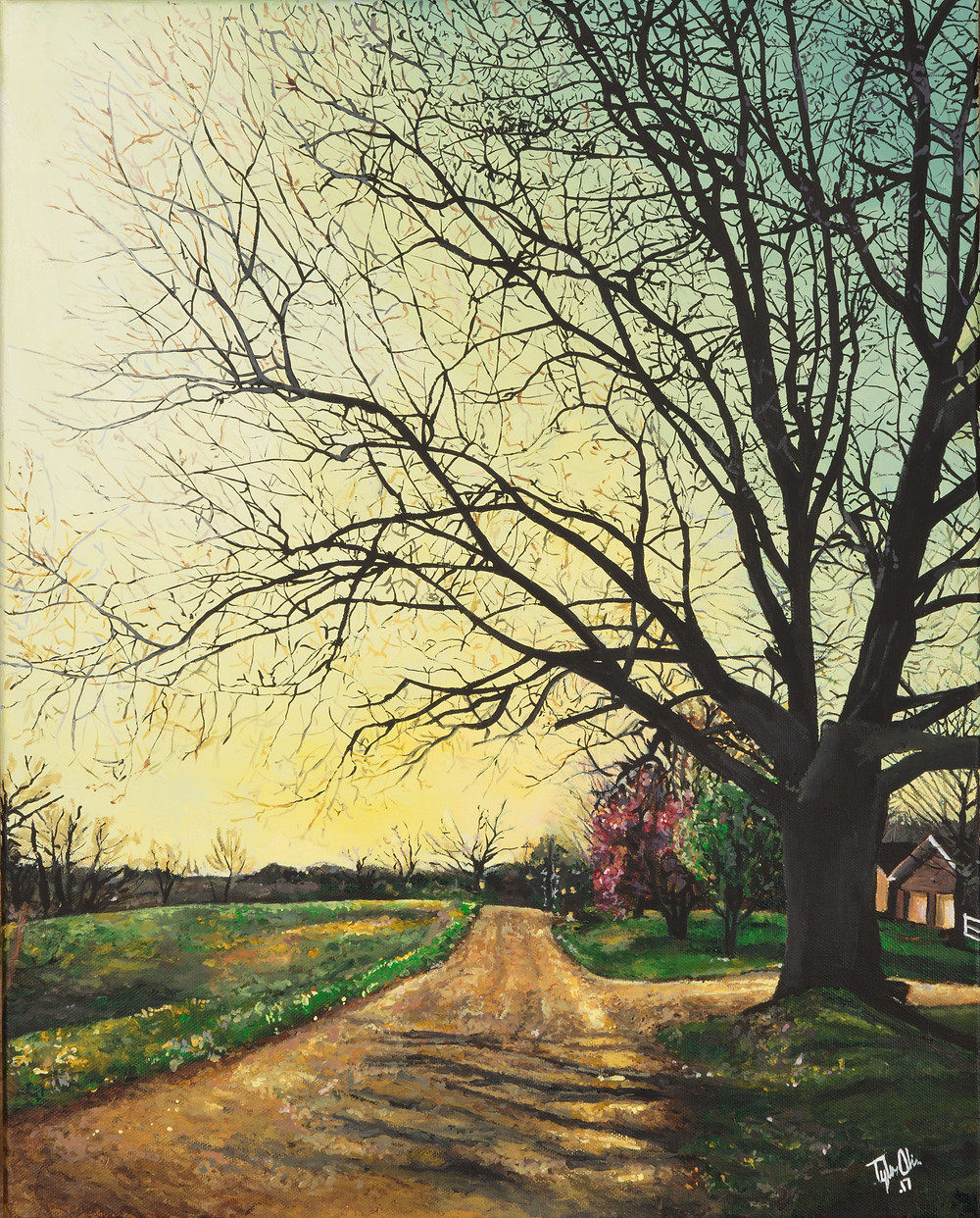A Realistic acrylic landscape painting of a dirt road and a tree