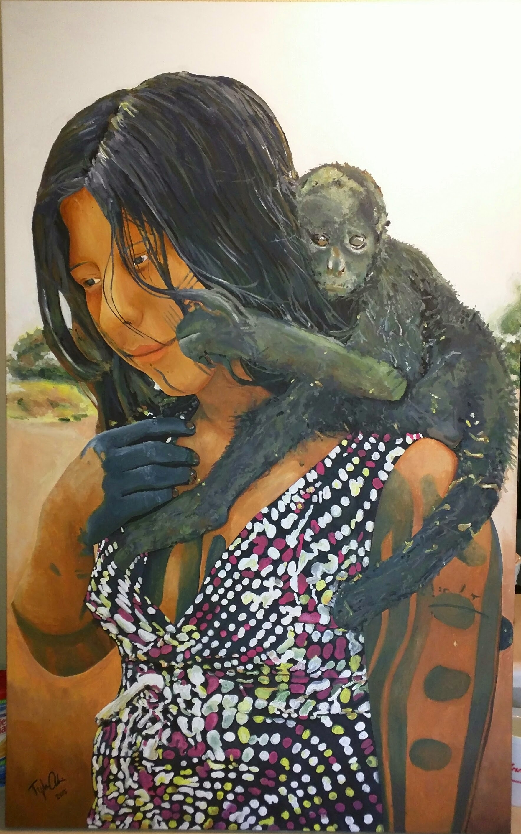 Girl With A Monkey - by TWAdair Art