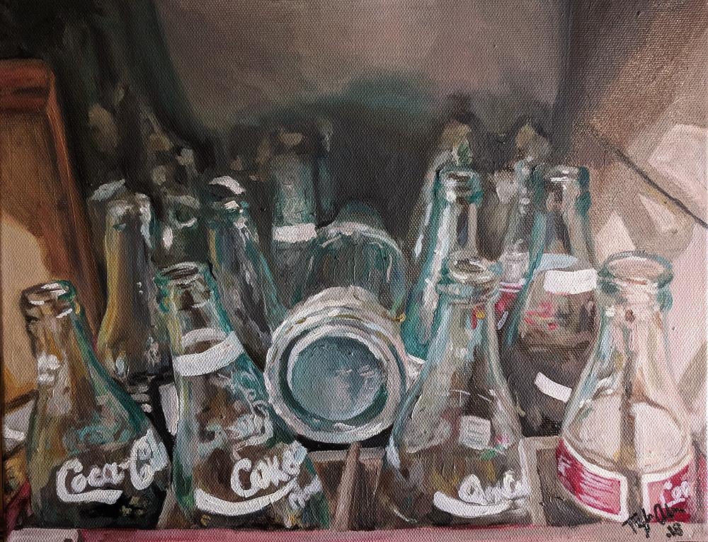 An oil still life painting of empty coke bottles