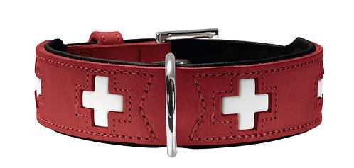 Halsband Swiss nickel Ökoleder rot