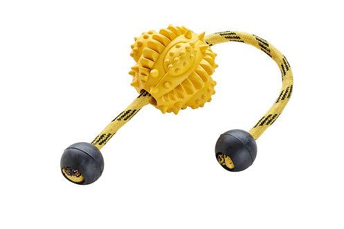 Hundespielzeug Spike Ball, schwarz/gelb