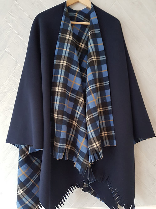 Blue Plaid Double Fleece Wraps