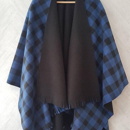 Blue Check Double Fleece Wraps