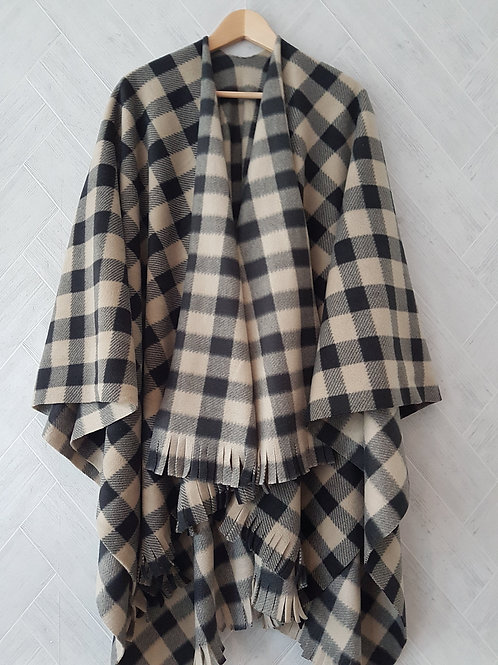 Beige and Black Check Single Fleece Wraps