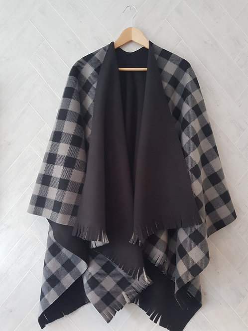 Grey Check Double Fleece Wraps