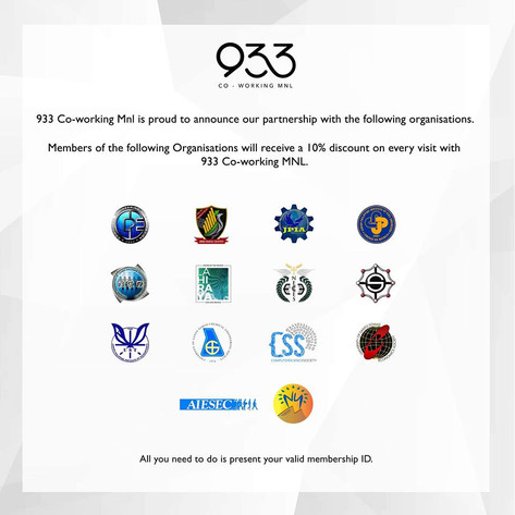 933 Co-working Mnl is proud to announce our partnership with the following organisations.