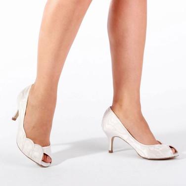Ivory Lace Mid Heel Peep Toe Shoe