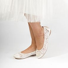 Ivory Mesh Lace Flat Shoes