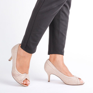 Champagne Extra Wide Fit Mid Heel Peep Toes