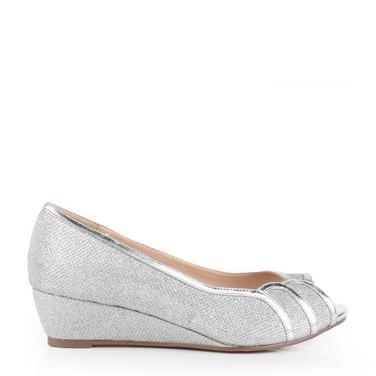 Silver Glitter Wide Fit Low Wedge Peep Toe