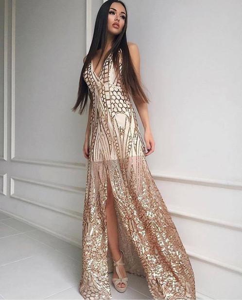Gold Sequin Floor Length Dresses