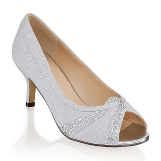 Silver Extra Wide Fit Mid Heel Peep Toes