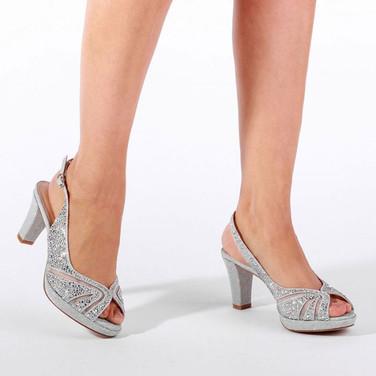 Silver Crystals Low Platform Sling Back Sandal