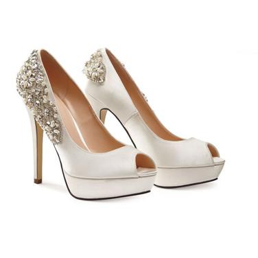 Ivory High Heel Platform Peep Toe