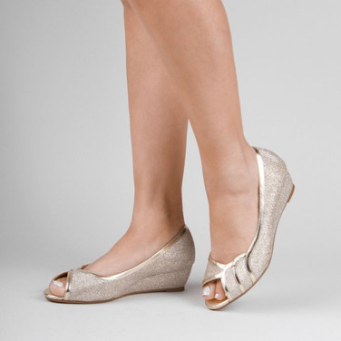 Champagne Glitter Wide Fit Low Wedge Peep Toe