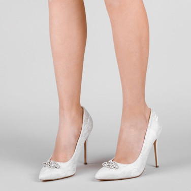 Ivory Lace High Heel Trim Detail Court