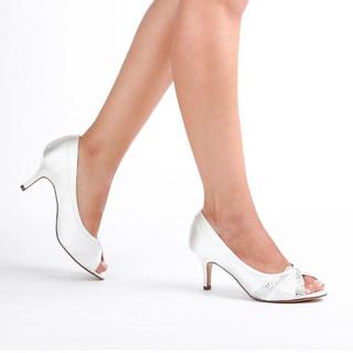Ivory Extra Wide Fit Mid Heel Peep Toes
