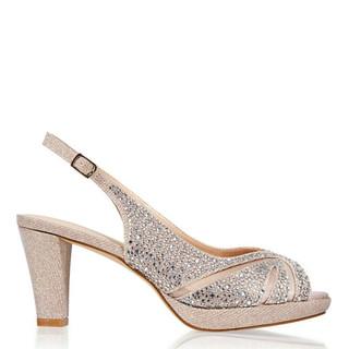 Champagne Crystals Low Platform Sling Back Sandal