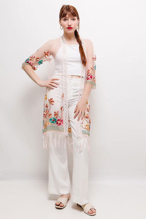 Tulle Kaftan with Colored Embroidery