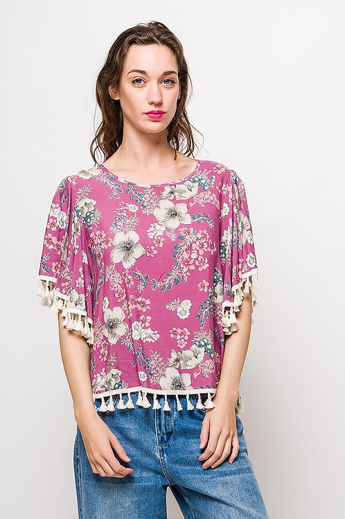 Floral blouse with pompons