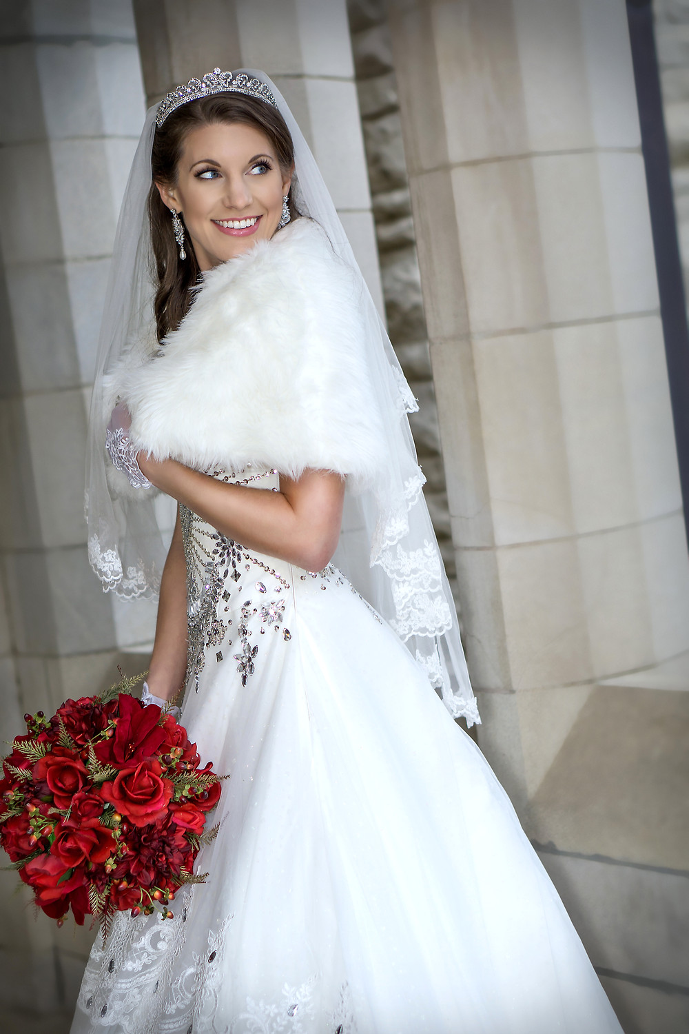 Smiling Bride Wearing Fur and Tiara