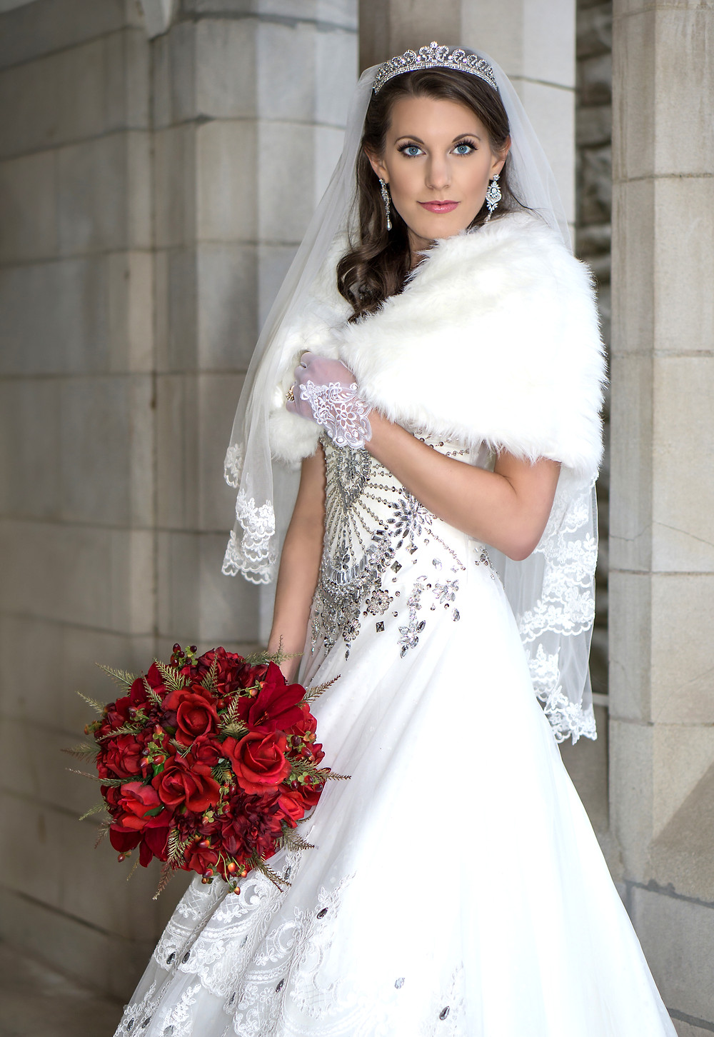 Beautiful Bride wears a crown and fur shawl