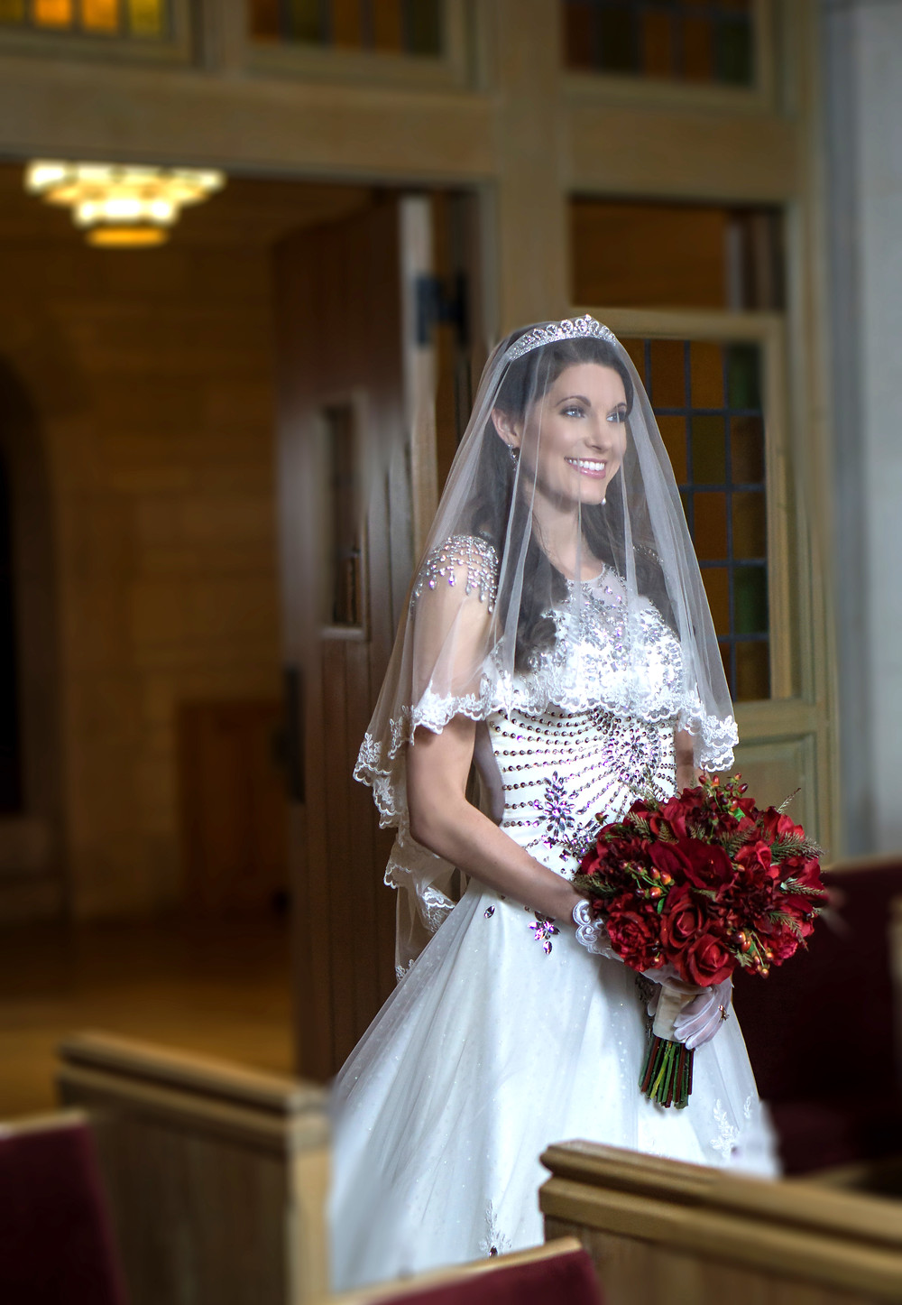 Smiling Bride Enters Chapel