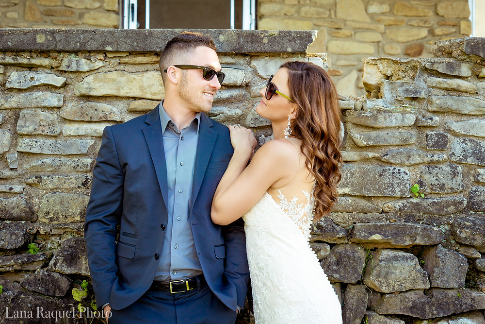 Bride and Groom Wearing Sunglasses