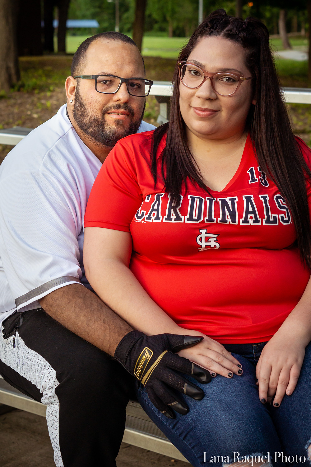 Husband and Wife Portrait on Baseball Bleachers