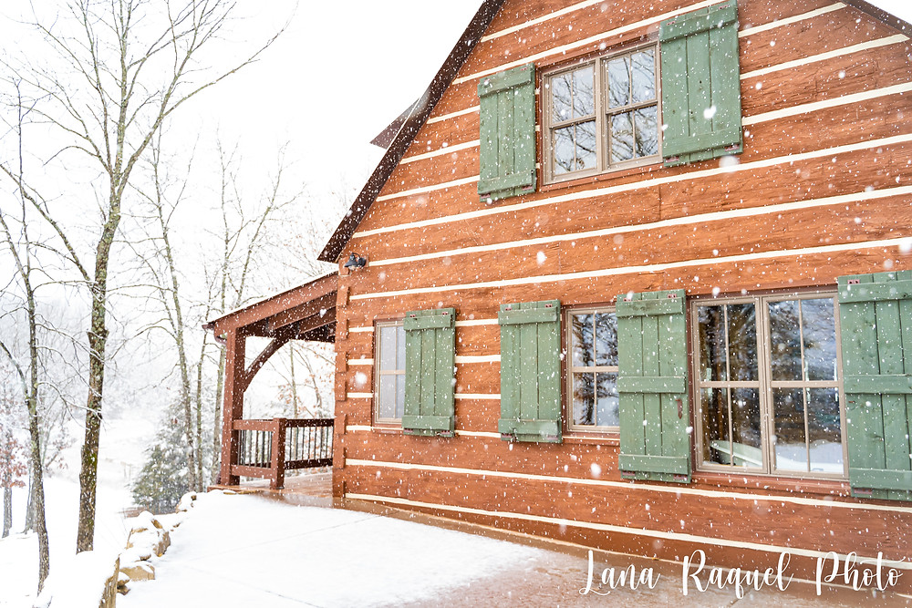 Cabins at Maple Rock in the Snow