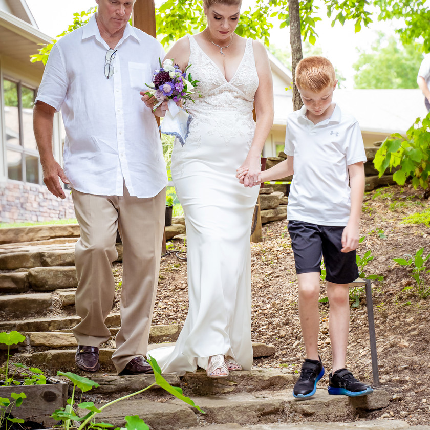 Grandson and Father walk Bride down the aisle