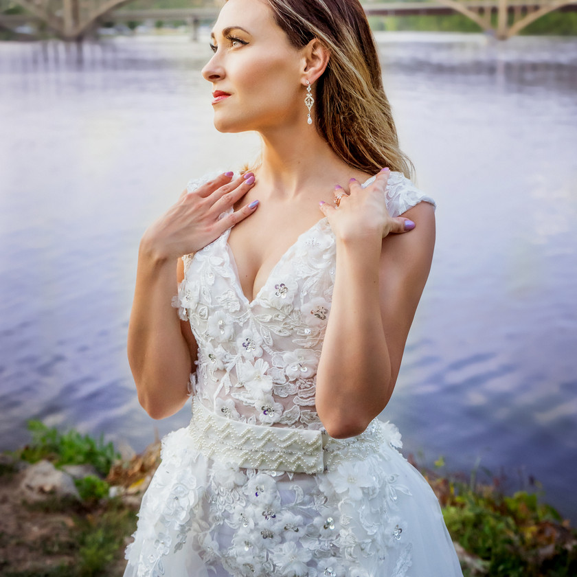 Bridal Sunset Portrait by the Blue Lake